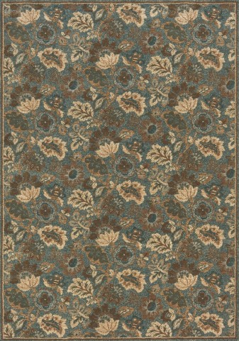 Cozumel Taupe/Blue Floral Small Rug