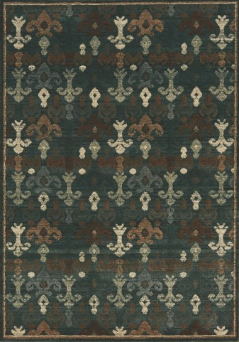Cozumel Brown/Blue Fleur-de-lis  Medium Rug