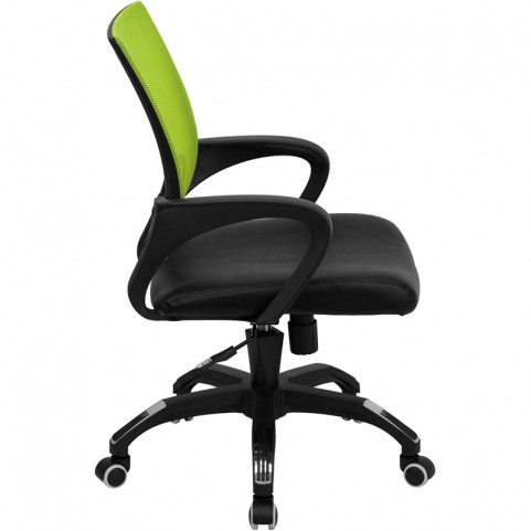 Mid-Back Green Computer Chair with Black Seat