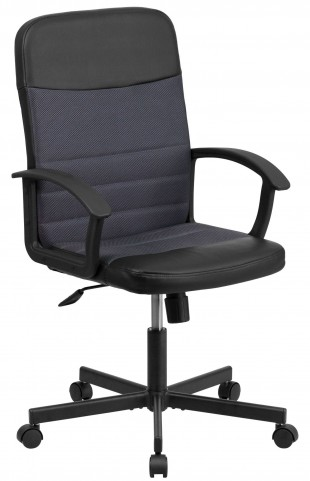 Mid-Back Black Vinyl Task Chair with Dark Gray Inserts