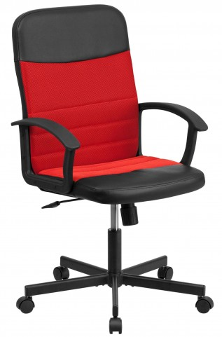 Mid-Back Black Vinyl Task Chair with Red Inserts