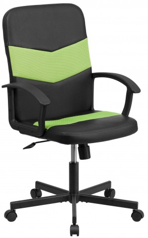 Mid-Back Black Vinyl Task Chair with Green Inserts