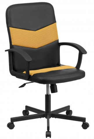 B301C01 Mid-Back Black Vinyl Task Chair with Orange Inserts