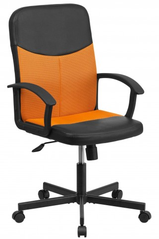 B301E01 Mid-Back Black Vinyl Task Chair with Orange Inserts