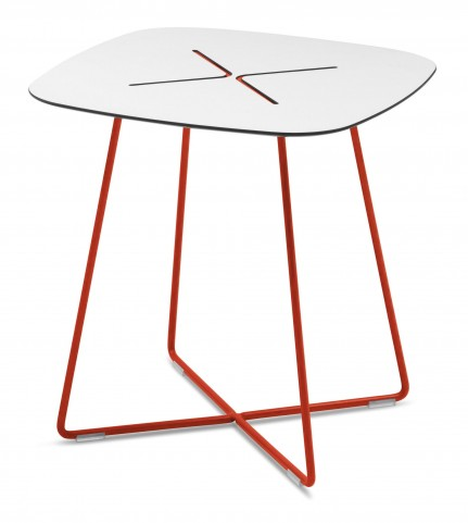 Cross Red Frame Low Square Coffee Table