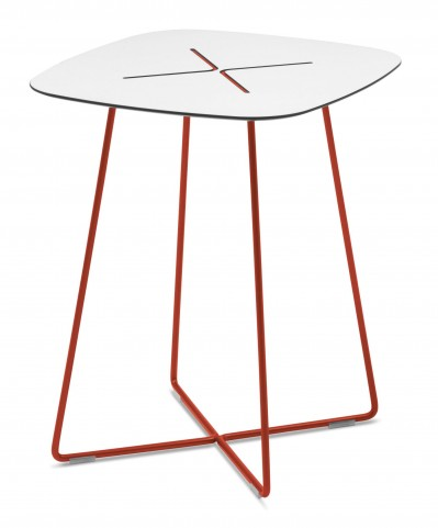 Cross Red Frame High Square Coffee Table