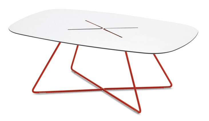 Cross Red Rising Lacquered Steel Rectangular Coffee Table
