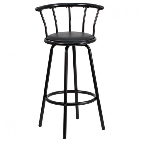 Crown Back Black Metal Black Vinyl Swivel Bar Stool