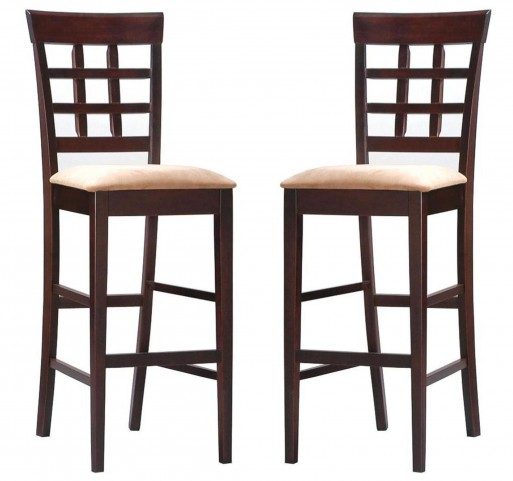 Rich Cappuccino Barstool w/Wheat Back Set of 2