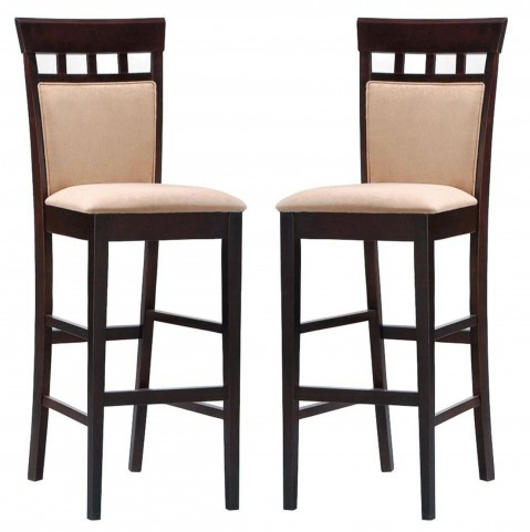 Rich Cappuccino Barstool With Upholstered Back Set of 2