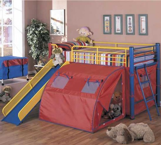 Multicolor Loft Bed With Slide