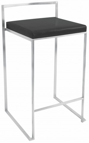 Fuji Stackable Black Counter Stool