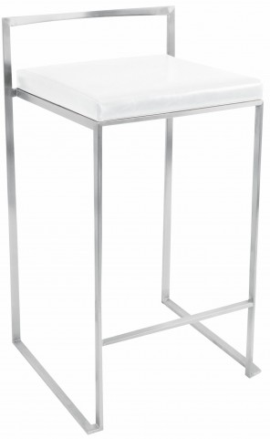 Fuji Stackable White Counter Stool