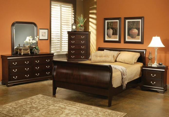 Louis Philippe Deep Cappuccino Sleigh Bedroom Set