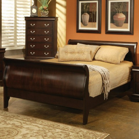 Louis Philippe Deep Cappuccino King Sleigh Bed