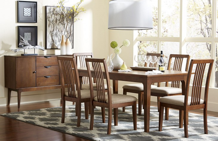 Mid-Mod Cinnamon Rectangular Dining Room Set