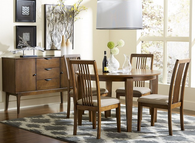 Mid-Mod Cinnamon Round Dining Room Set