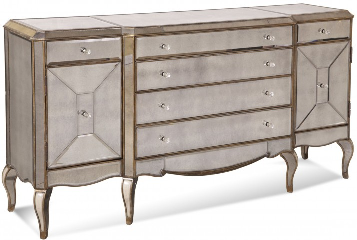 Collette Gold and Silver Leaf Breakfront Server