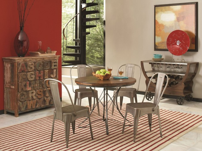 Abbey Weathered Brown Round Dining Room Set
