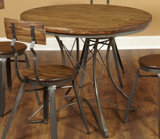 Abbey Weathered Brown Round Dining Table