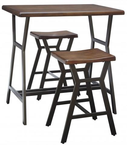 Danzing Dark Brown 3 Piece Rectangular Counter Table Set