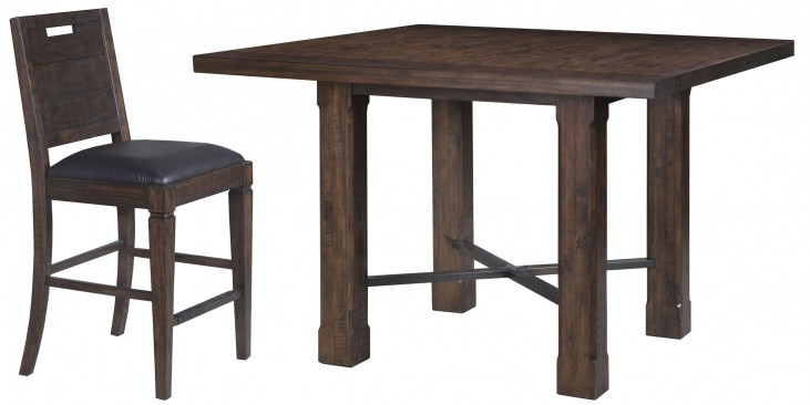 Pine Hill Rustic Pine Square Counter Dining Room Set