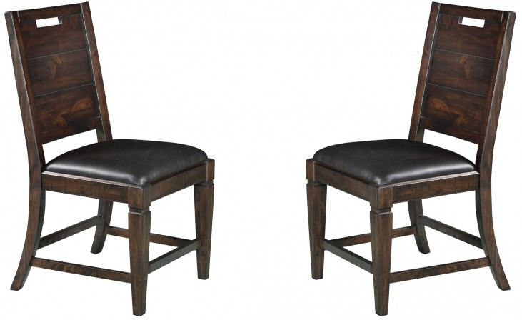 Pine Hill Warm Rustic Pine Upholstered Side Chair Set of 2