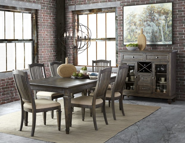 Sutton Place Weathered Charcoal Rectangular Dining Room Set