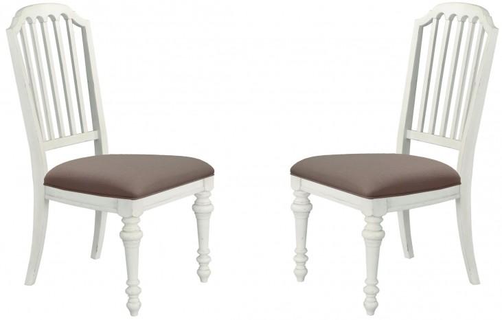 Hancock Park Weathered Oak Upholstered Side Chair Set of 2