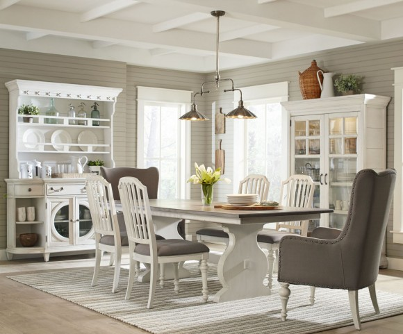 Hancock Park Vintage White Rectangular Dining Room Set