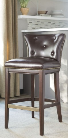 Canidelli Brown Tall Upholstered Barstool Set of 2