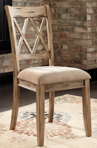 Mestler Antique White Upholstered Side Chair Set of 2