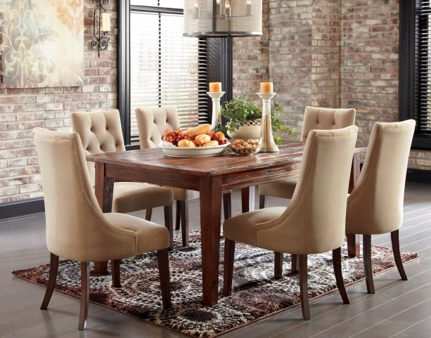 Mestler Dark Brown Dining Room Set