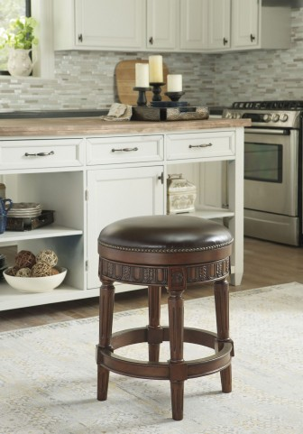 North Shore Dark Brown Upholstered Swivel Stool