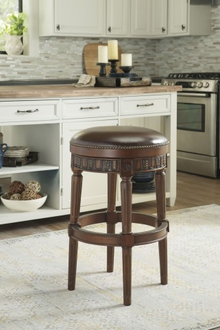 North Shore Dark Brown Tall Upholstered Swivel Stool