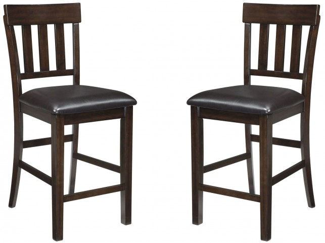 Haddigan Dark Brown Upholstered Counter Stool Set of 2