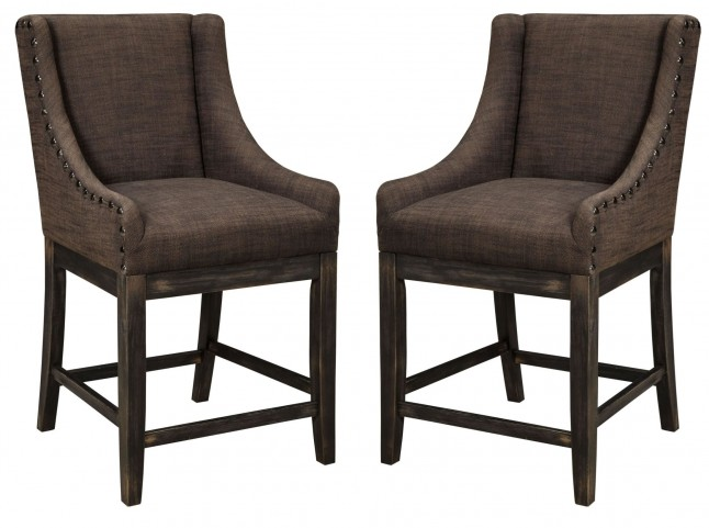 Moriann Dark Brown Upholstered Barstool Set of 2