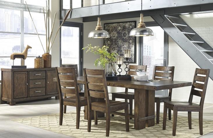 Leystone Dark Brown Rectangular Extendable Dining Room Set
