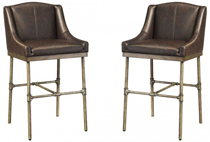 Starmore Brown Tall Upholstered Barstool Set of 2