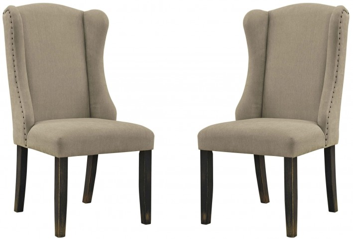 Gerlane Light Brown Upholstered Side Chair Set of 2
