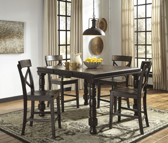 Gerlane Dark Brown Rectangular Counter Height Extendable Dining Room Set