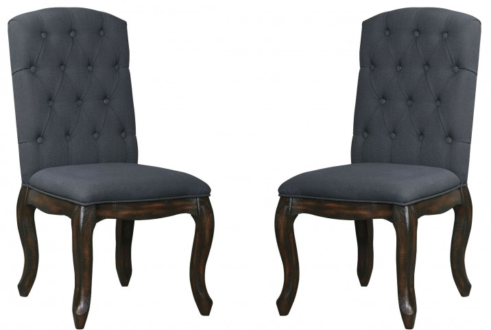 Trudell Dark Brown Upholstered Side Chair Set Of 2