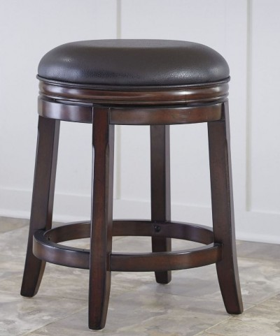 Porter Rustic Brown Upholstered Swivel Stool Set of 2