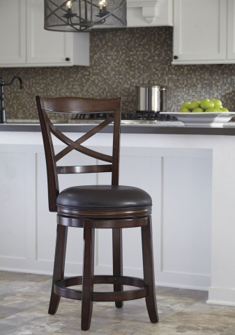 Porter Rustic Brown Upholstered Swivel Barstool Set of 2