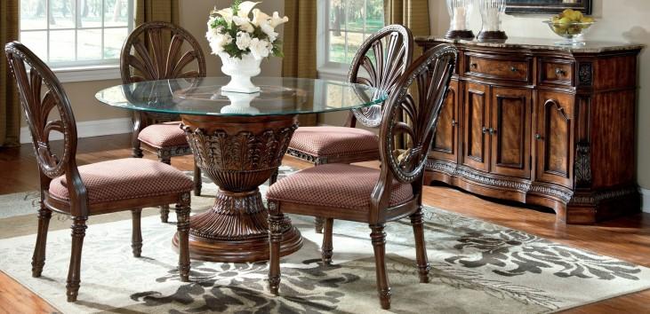 Ledelle Round Glass Top Dining Room Set