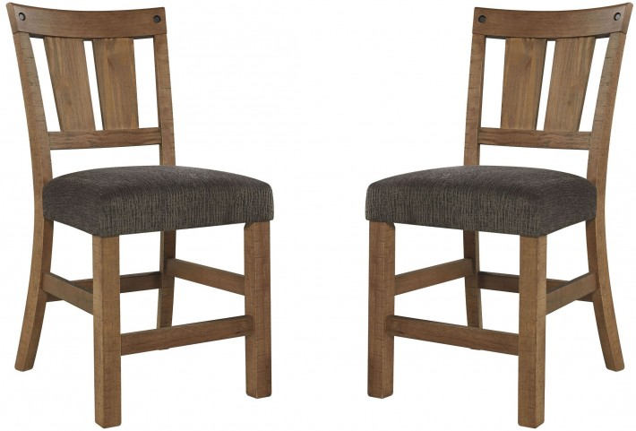 Tamilo Dark Brown Upholstered Counter Stool Set Of 2