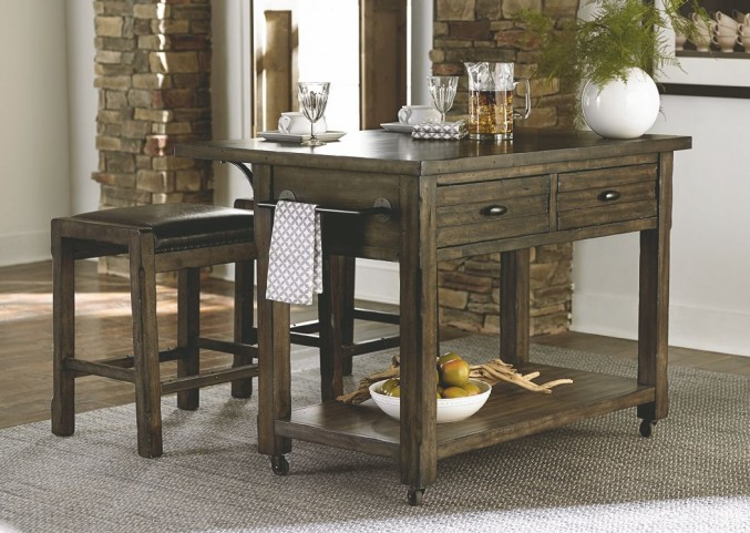 Crossroads Birch Smoke Kitchen Island Set