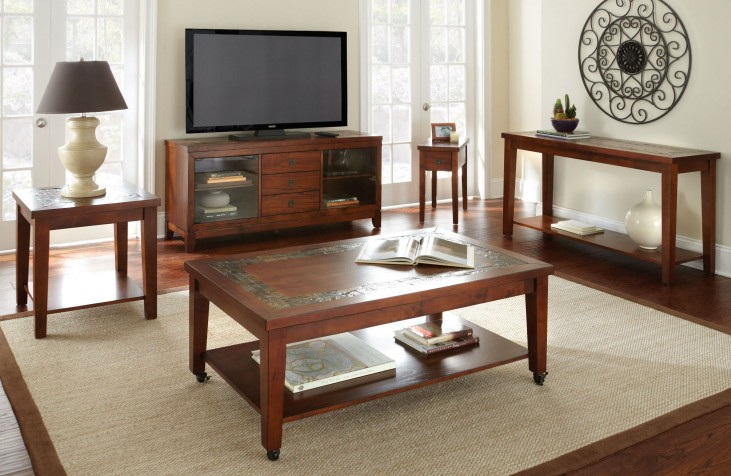 Davenport Medium Brown Occasional Table Set