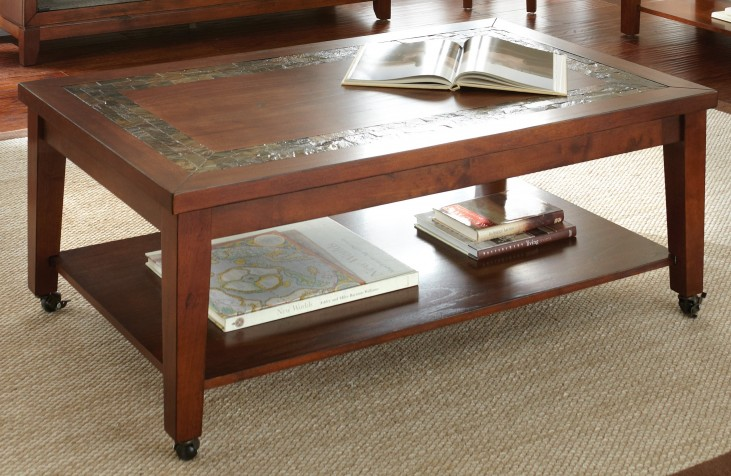 Davenport Medium Brown Cocktail Table with Locking Casters