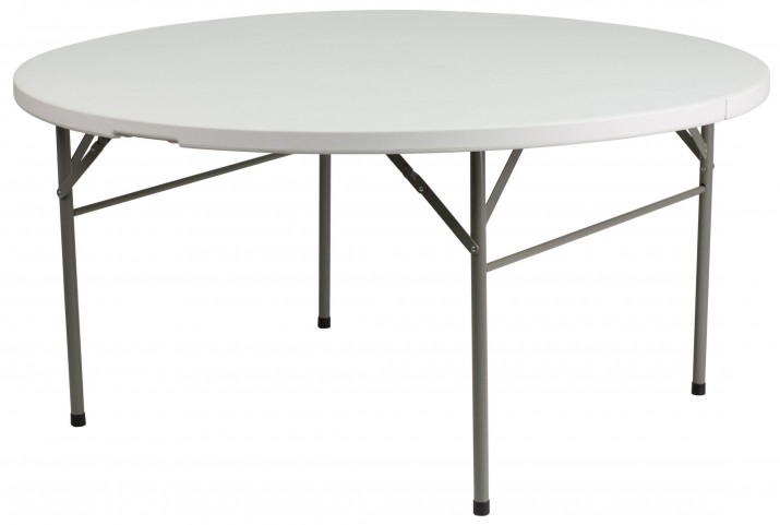 "60"" Round Bi-Fold Granite White Plastic Folding Table"